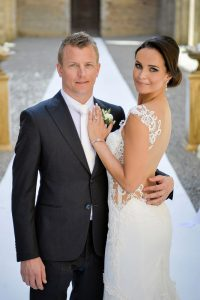 Kimi Raikkonen and Minttu Raikkonen marriage wedding hair and makeup